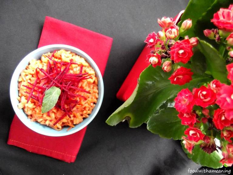 arroz de beterraba e cenoura