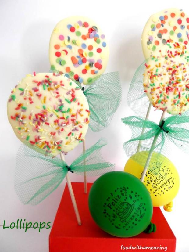 lollipops de chocolate branco
