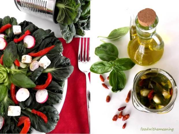 Salada de micro-couve tat soi. pimentos, rabanetes e queijo