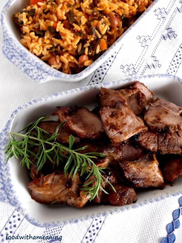 pá de porco com segurelha e arroz à cavador