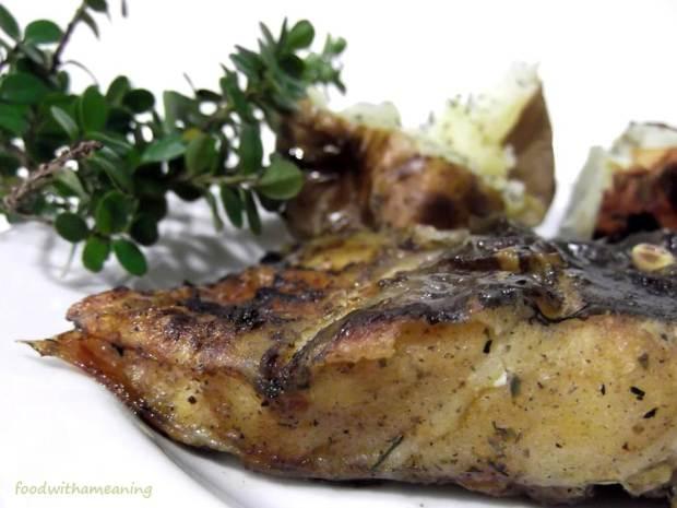 congro grelhado com batatas na prata