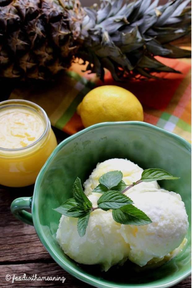 gelado de limão e abacaxi