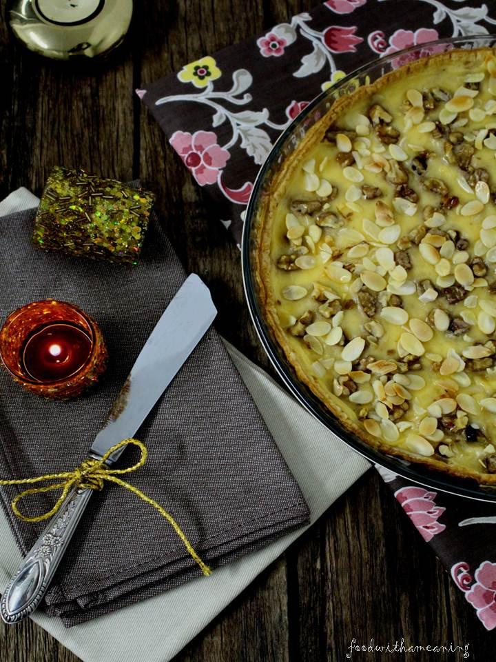 tarte de creme inglês e frutos secos