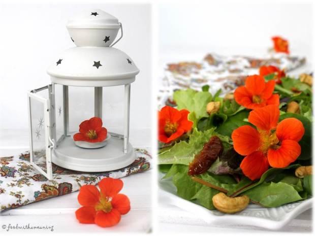 salada de baby-leaf com tomate seco, cajus e flores