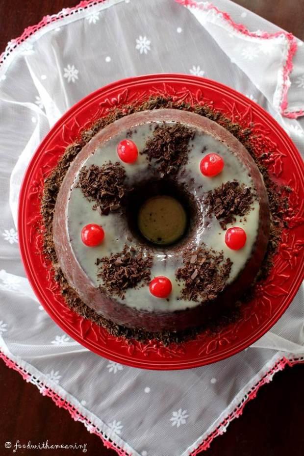 bolo de chocolate, moscatel e mascarpone