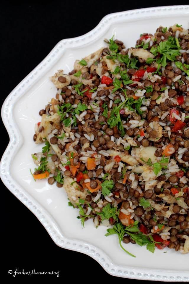 salada de lentilhas com bacalhau