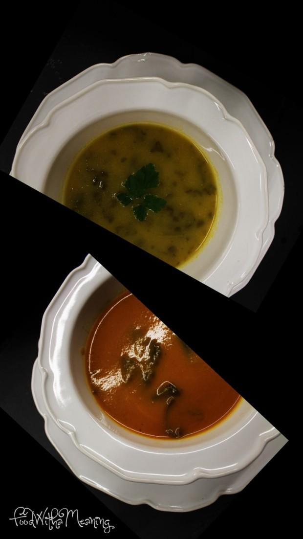 Sopa de salsa e sopa de pimento