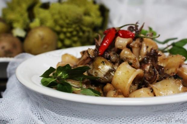 lulas na frigideira com romanesco e batata cozida