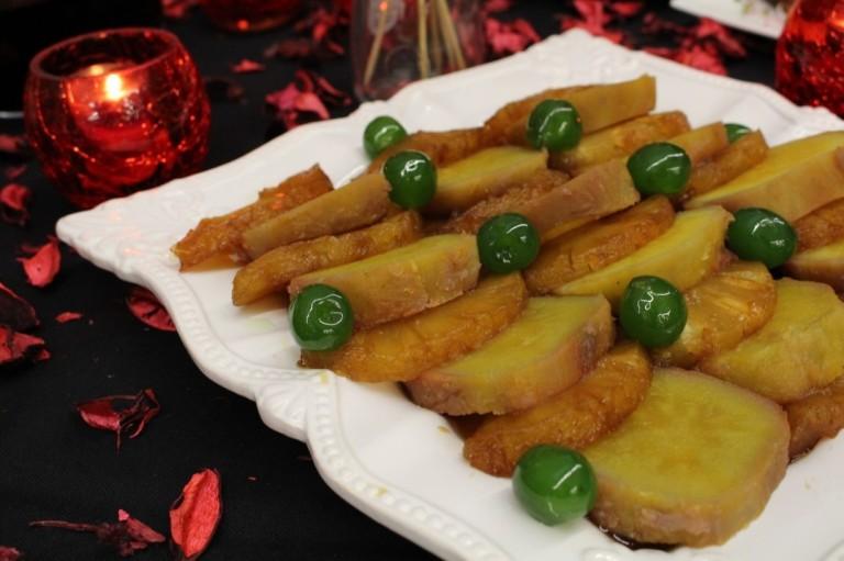 batata-doce com ananás caramelizado