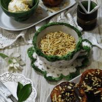 Marmelos assados com especiarias e gelado de iogurte