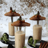 Surf & Turf de peixe defumado e cogumelos