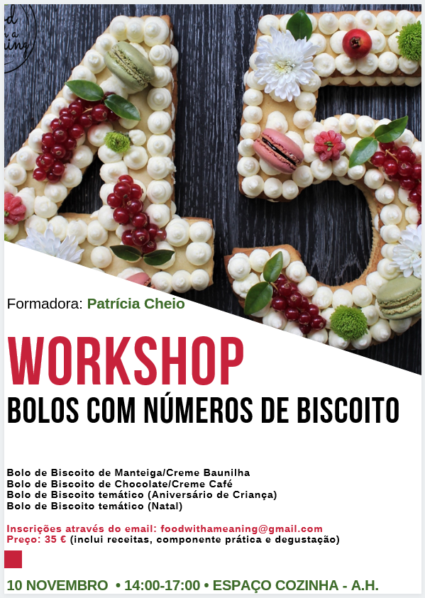 Cartaz workshop Bolos Com números de Biscoito