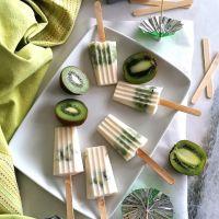 Picolés de Iogurte natural com kiwi