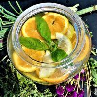Água de citrinos e ervas aromáticas